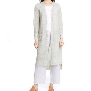 Eileen Fisher Knit Long Duster Cardigan Grey Linen